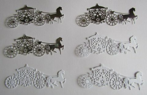 6 X HORSE & CARRIAGE DIE CUTS GREAT FOR WEDDINGS PROMS & LITTLE PRINCESSES